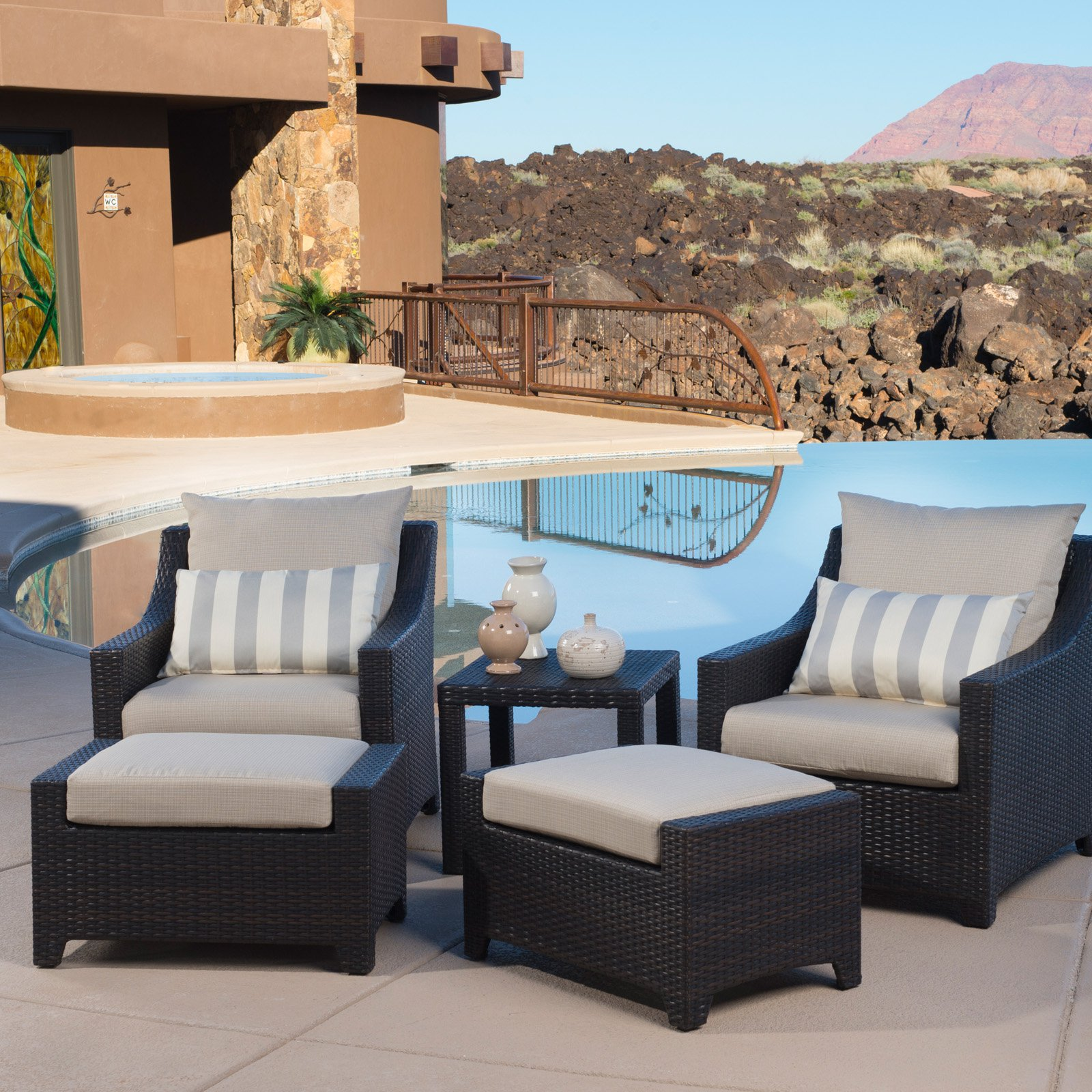 RST Outdoor Slate 5 Piece Club Chair and Ottoman Set