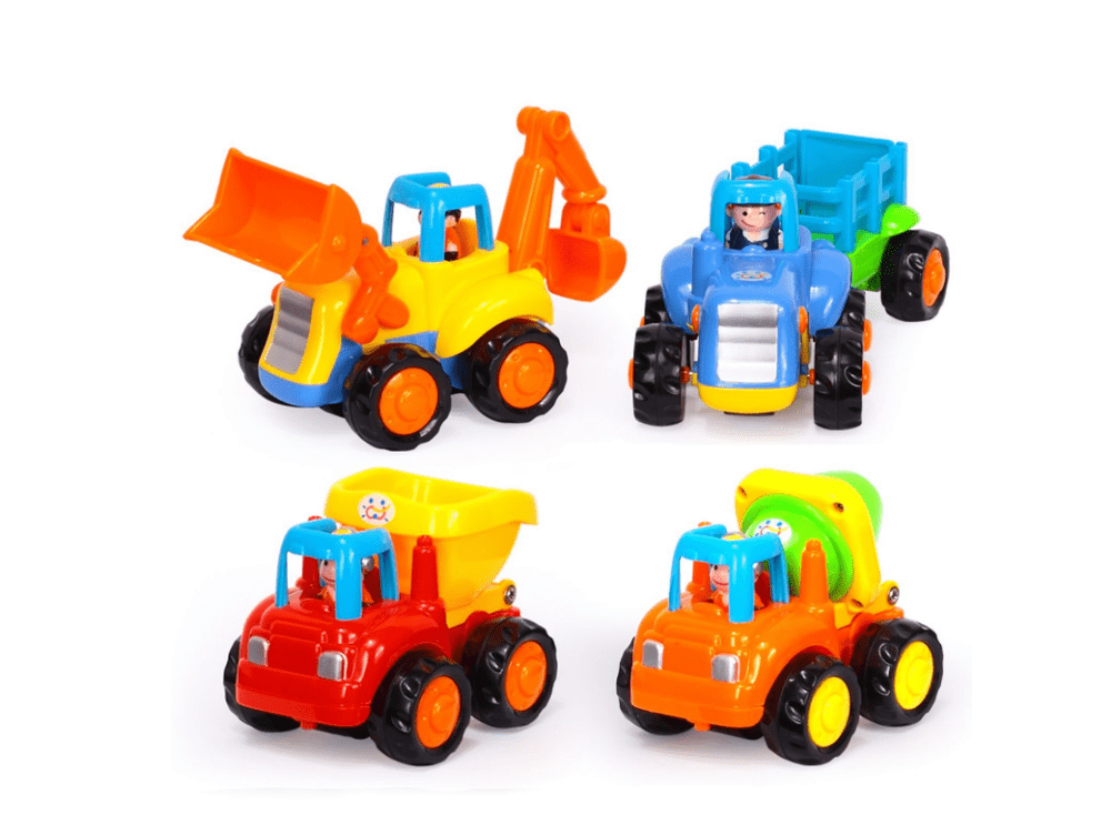 Huile Set of 4 Friction Powered Car Toys,Tractor,Dump truck,Cement Mixer,Bulldozer truck by Cheerwing