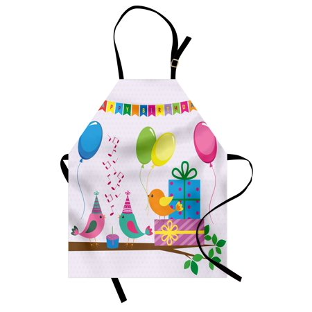 Kids Birthday Apron Singing Birds Happy Birthday Song Flags Cone Hats Party Cake Celebration, Unisex Kitchen Bib Apron with Adjustable Neck for Cooking Baking Gardening, Multicolor, by Ambesonne - Singing Happy Birthday