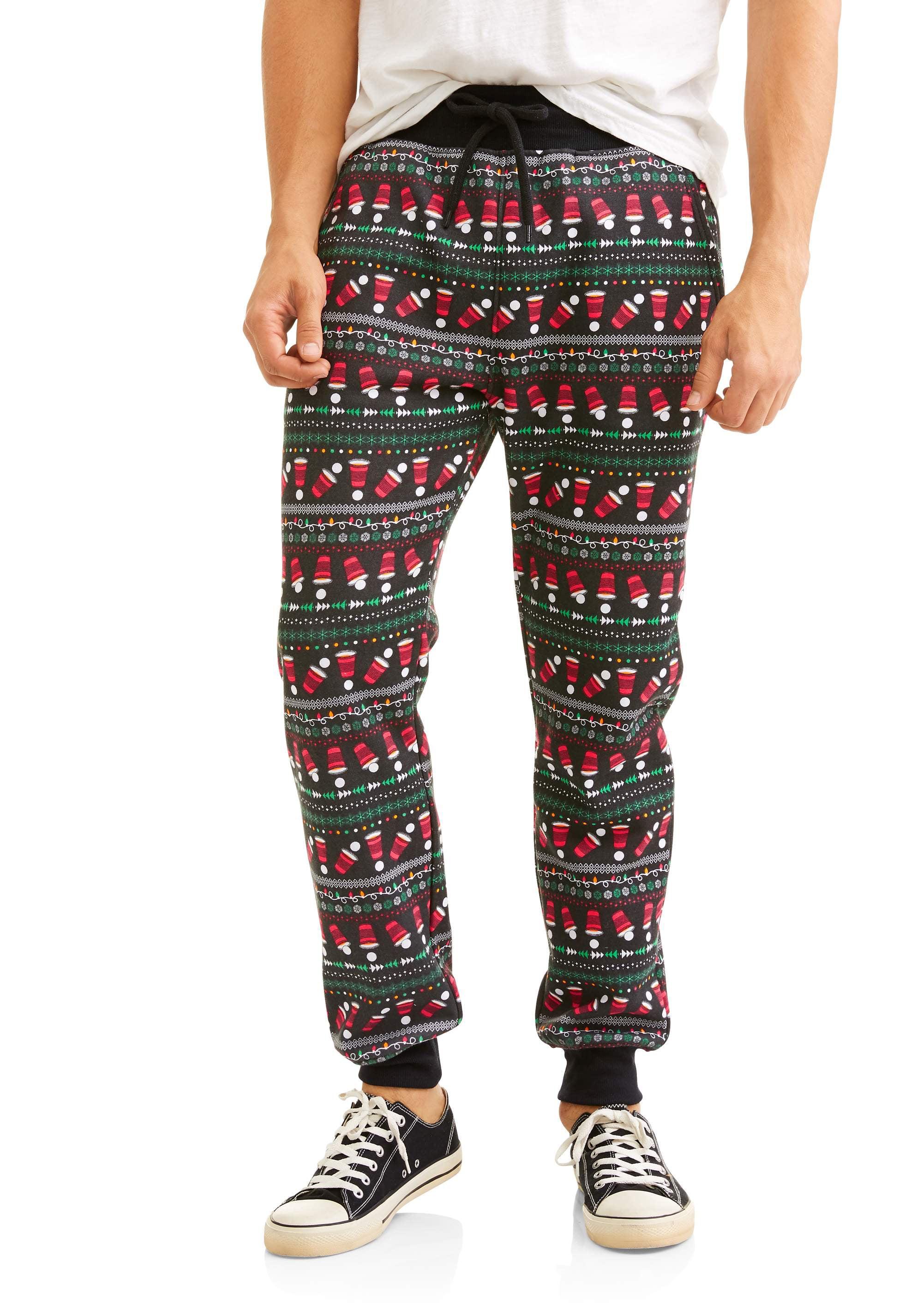 Holiday Mens Beer Pong Print Ugly Christmas Joggers Stocking Ring 9919