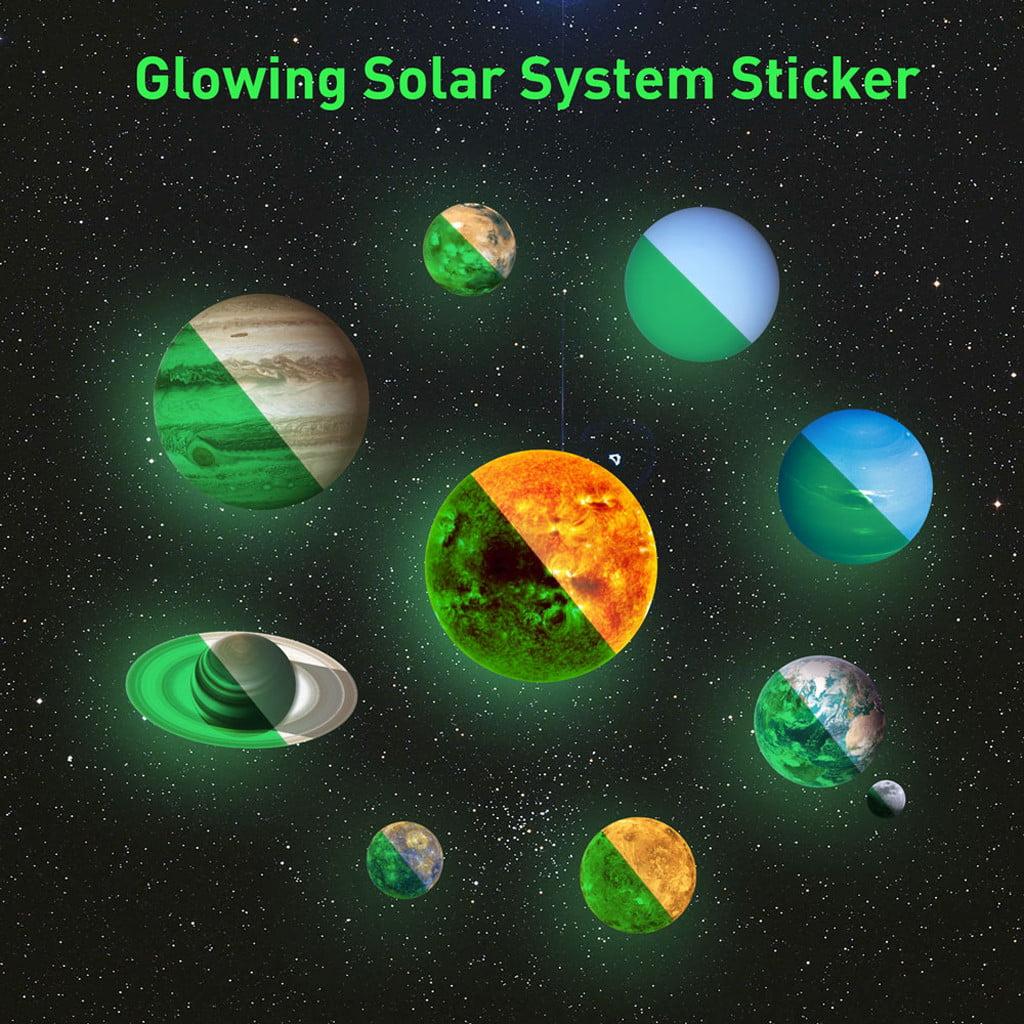 Bedroom Stars Night Light Planets Solar System Wall Sticker Luminous Stickers