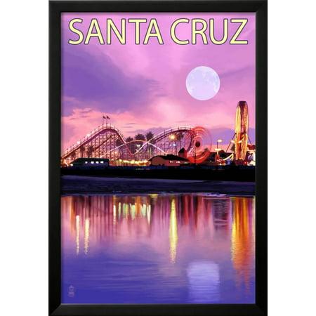 santa cruz california rides and moon at twilight framed print wall art by lantern press