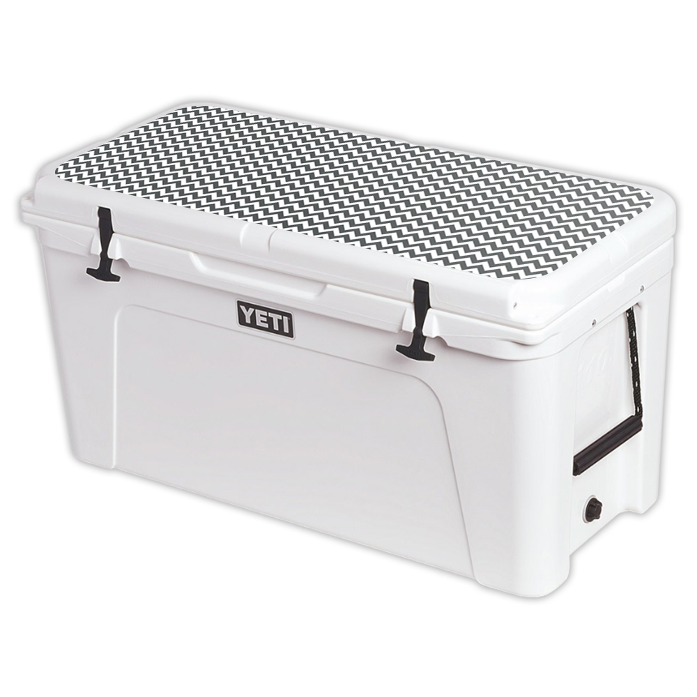 MightySkins Protective Vinyl Skin Decal for YETI Tundra 110 qt Cooler Lid wrap cover sticker skins Gray Chevron