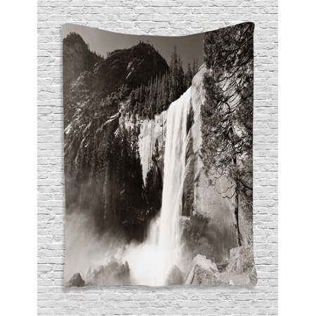 Yosemite Tapestry, Waterfalls in Yosemite National Park in California Monochromic Old Picture Print, Wall Hanging for Bedroom Living Room Dorm Decor, Black White, by Ambesonne (Bedrooms Black And White Pictures)