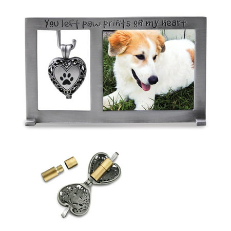 Silver-tone Pet Memorial Ash Holder Locket 3x5 Photo (Frame Locket)