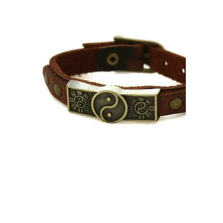 Studded Yin Yang Leather Essential Oil Bracelet- Unisex Men/Women