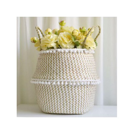 Topumt Foldable Handmade Grass Weaving White Pattern with Small Plush Balls Flower Storage Basket ()