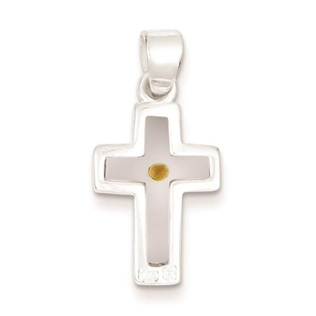 Sterling Silver Enameled with Mustard Seed Cross Charm Pendant 25mmx12mm