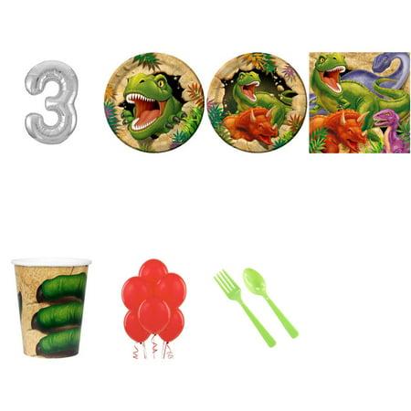 Dinosaur Adventure 3rd birthday supplies party pack for 16 - Dinosaur Birthday Party Supplies