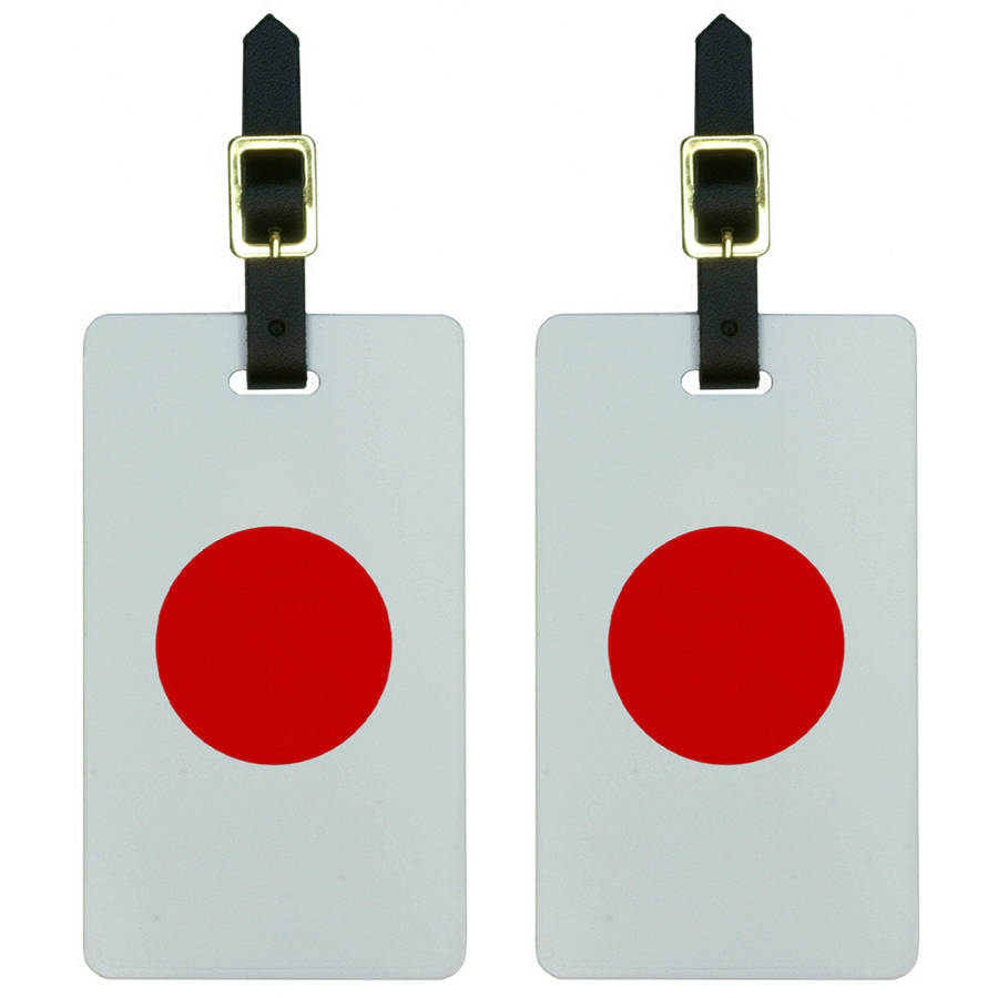 Japan Flag Luggage Tags Suitcase Carry-On ID, Set of 2 by Graphics and More