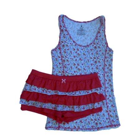 Valentines  Womens Pink Floral Rhumba Shorts & Tank Pajama Set Ruffle Pajamas - Valentines Pajamas
