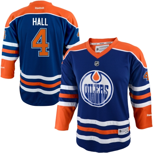 Taylor Hall Edmonton Oilers Reebok Youth Replica Player Hockey Jersey Navy Blue L XL by Outerstuff