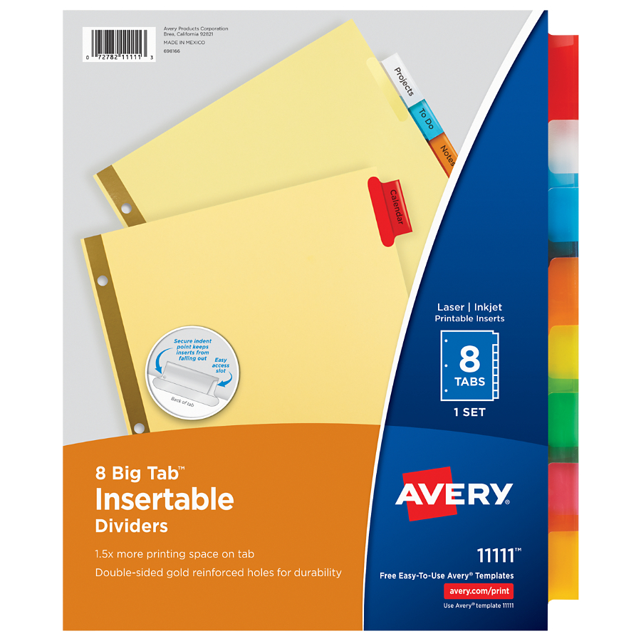 Avery WorkSaver Big Tab Paper Dividers, Multi-Colored, 8-Tab