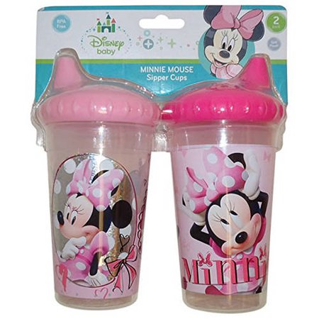 Disney Minnie Mouse Clubhouse Slim Sippy Cups, Pink, 2 Count (Minnie Mouse Plastic Cups)
