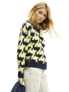 Scoop Women's Houndstooth Crewneck Sweater