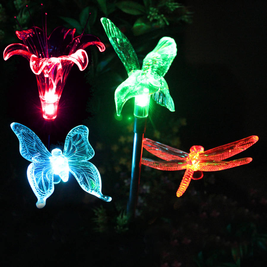 SOLAscape Butterfly, Hummingbird, Dragonfly and Flower Stake Light, Set of 4