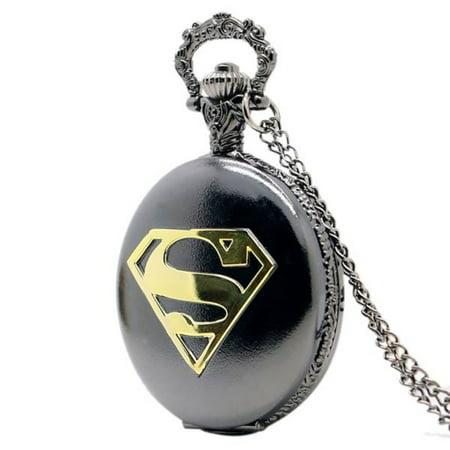 Superman Black and Gold Pocket Watch Superman Super Hero Watch WP-11 Black Gold Pocket Watch