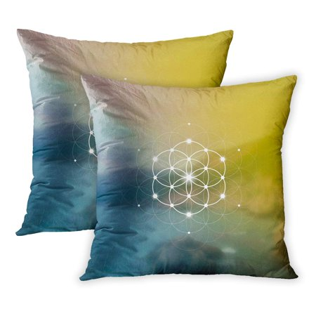 ECCOT Kabbalah Hipster Scientific Flower of Life The Interlocking Circles Ancient in Front Blurry Alchemy Atom PillowCase Pillow Cover 20x20 inch Set of 2