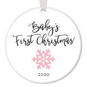 """Baby's First Christmas Ornament 2020, Girl Baby Pink Snowflake Porcelain Ceramic Ornament, 3"""" Flat Circle Christmas Ornament with Glossy Glaze, Red Ribbon & Free Gift Box   OR00025 Elijah"""