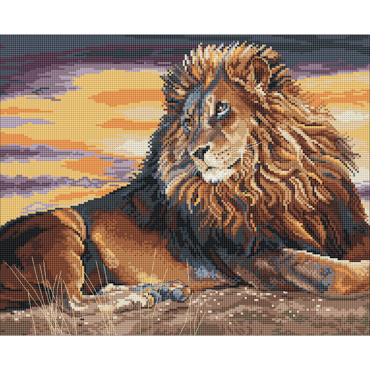 """Pollyanna Pickering Counted Cross Stitch Kit 12""""X10""""-Sunset On The Pridelands"""