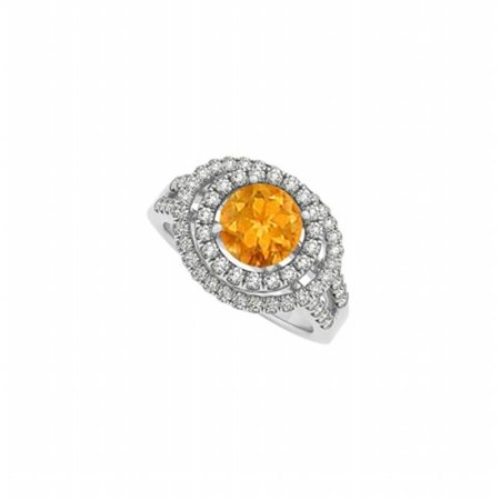 Glowing Engagement Ring (Glowing Citrine & CZ Double Halo Engagement Ring, 65)