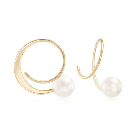 Ross-Simons 5.5-6mm Cultured Pearl Spiral Hoop Earrings in 14kt Yellow Gold For Women