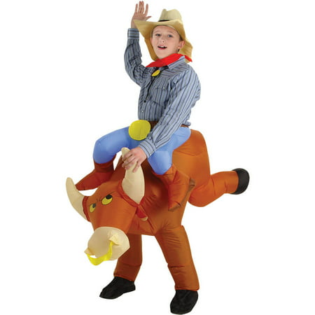 Bull Rider Kids Inflatable Boys Child Halloween Costume, One Size - Horseback Rider For Halloween