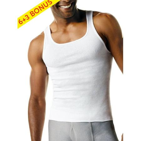 Hanes Men's Tagless ComfortSoft White Tank Undershirt, 6 + 3 Bonus Pack ()