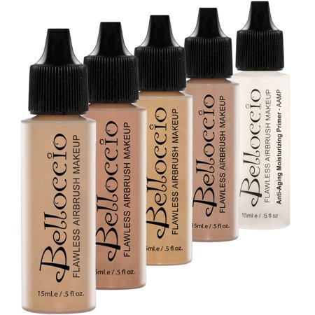 Face Lift Cosmetics - Belloccio MEDIUM Airbrush Makeup FOUNDATION SET Mid Tone Shade Face Cosmetic Kit