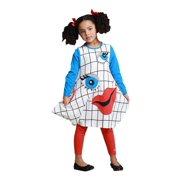 KidCuteTure Little Girls White Blue Sleeve Smiley Funky Fall Designer Dress 2-6