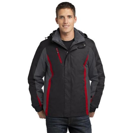 Port Authority® Colorblock 3-In-1 Jacket. J321 Black/ Magnet Grey/ Signal Red - image 1 of 1