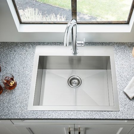 American Standard Edgewater 25'' x 22'' Single Bowl Drop-In Kitchen Sink with Grid and Drain