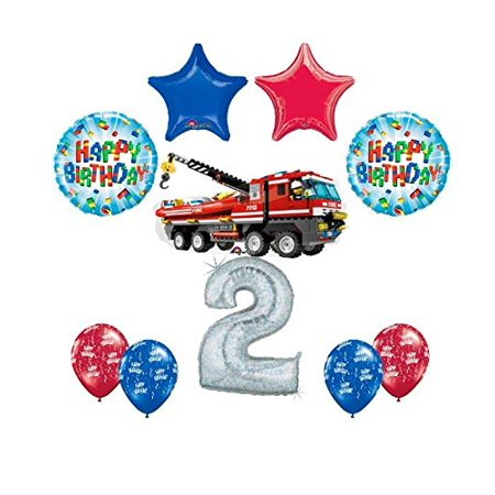 Big City Balloons (10 pc LEGO CITY Fire Engine Firetruck 2nd Birthday Fire Truck Party Balloon)