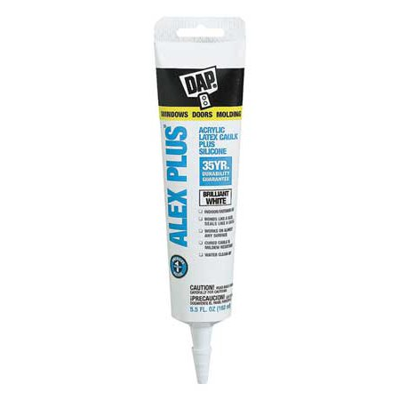 DAP Alex Plus Acrylic Latex Caulk Plus Silicone, White 5.5 OZ