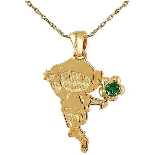 """May Birthstone Gold-Plated Sterling Silver Dora the Explorer Pendant, 18"""""""