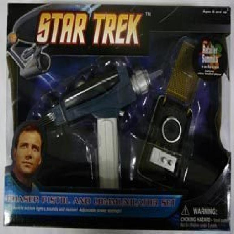 Diamond Select Toys Star Trek Deluxe White Handled Phaser Pistol and Communicator Set by