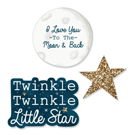 Twinkle Little Star - DIY Shaped Baby Shower or Birthday Party Cut-Outs - 24 Count
