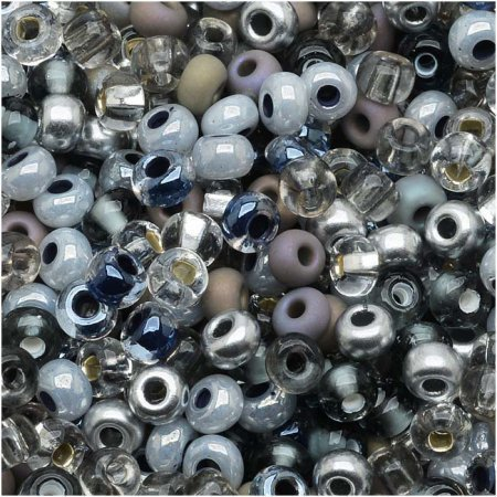 Czech Seed Beads 6/0 'Silver Wares Mix (1 ounce) - Silver Beads