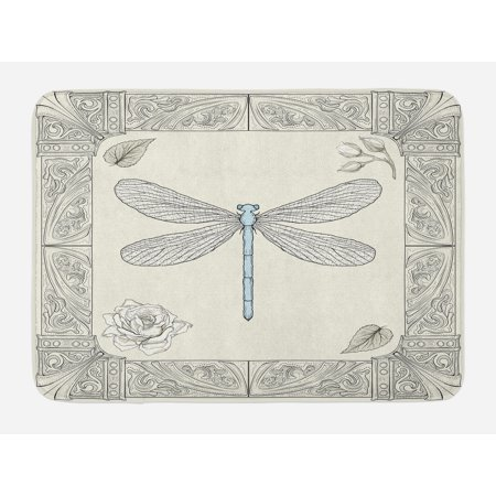 - Dragonfly Bath Mat, Hand Drawn Royal Ancient Style Rose Petals Leaves and Ornate Figures Design, Non-Slip Plush Mat Bathroom Kitchen Laundry Room Decor, 29.5 X 17.5 Inches, Black Pale Blue, Ambesonne