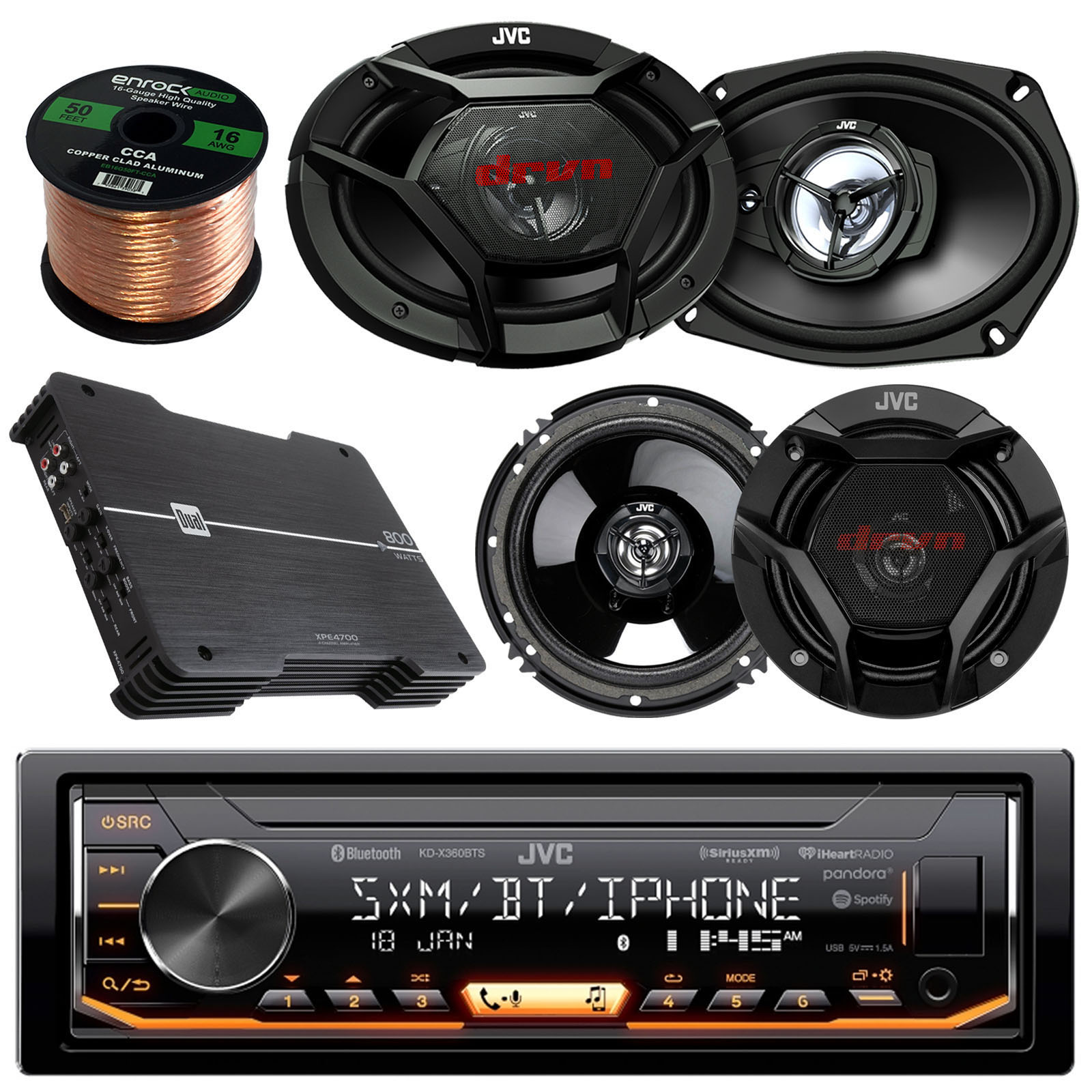 "JVC KD-X360BTS AM/FM USB AUX Car Stereo Receiver Bundle Combo With 2x JVC CSDR6940 6x9"" 3-Way Vehicle Coaxial Speakers + 2x CSDR620 6.5"" Audio Speaker + Dual XPE4700 800w Amplifier + 50Ft 16g Wire"