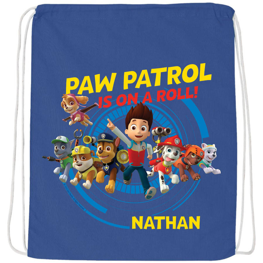 Personalized Paw Patrol On A Roll Blue Drawstring Bag