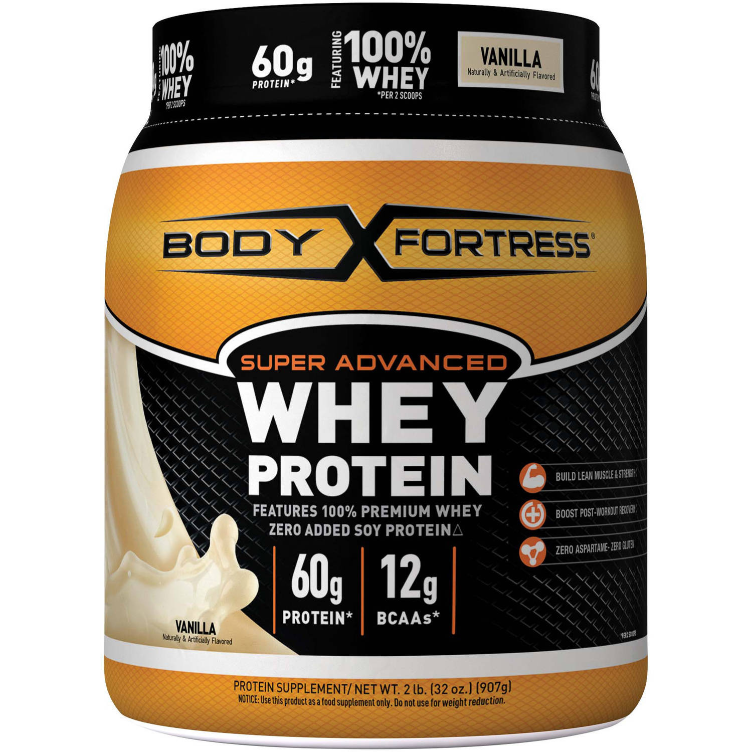 Body Fortress Super Advanced Whey Protein Powder, Vanilla, 2 lbs