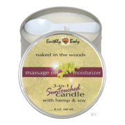 Earthly Body 3 In 1 Massage Heart Candle - Naked In The Woods, 6.0 oz.
