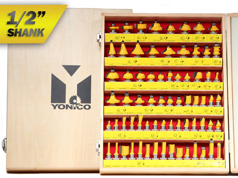"70 Bits Professional Quality Router Bit Set Carbide 1 2"" Shank Yonico 17702 by Yonico"