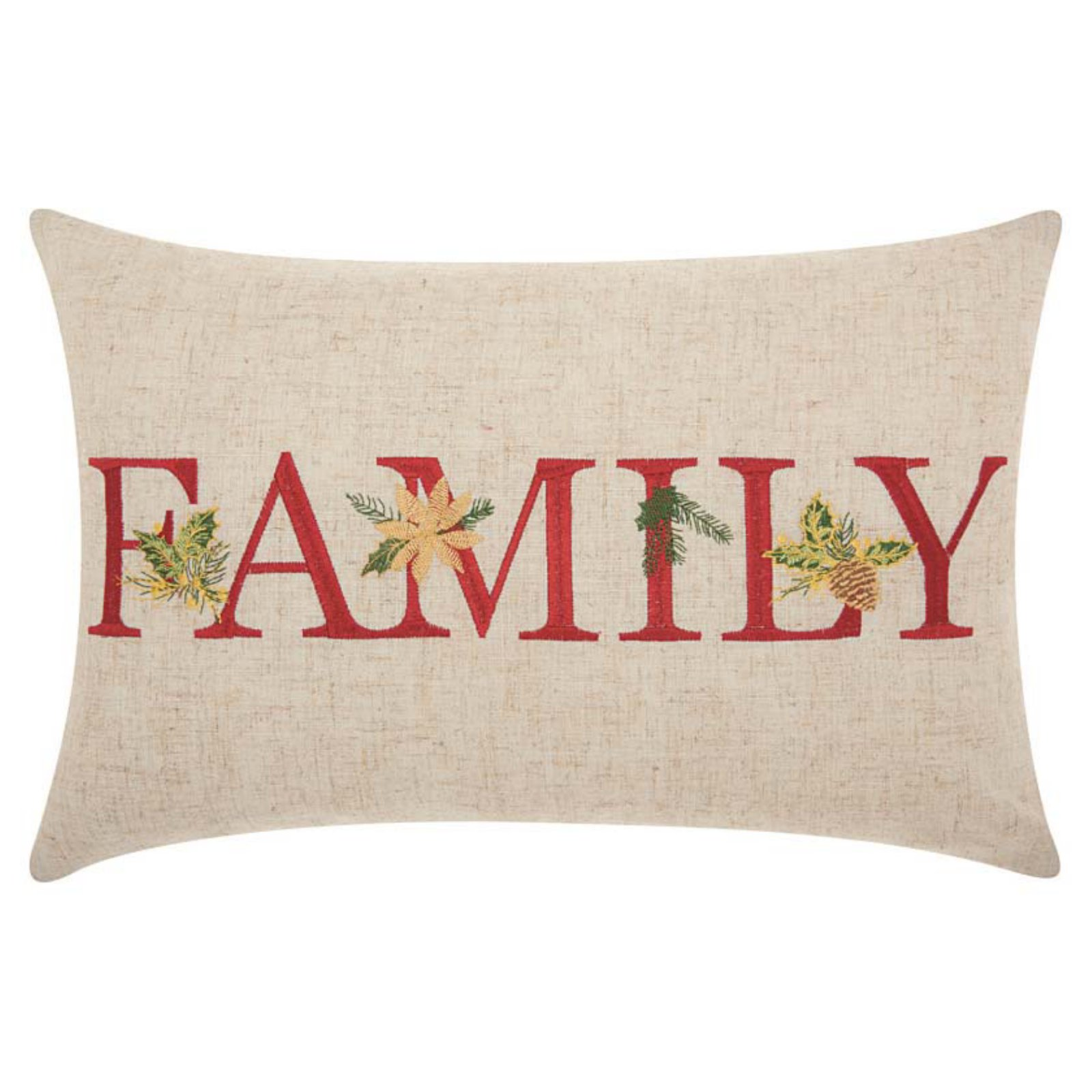 Nourison Home For The Holiday Family Holiday Throw Pillow, Natural by Nourison