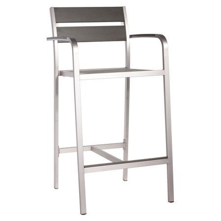Miraculous Modern Outdoor Bar Stool Chair Silver Brushed Aluminum Set Of Two Andrewgaddart Wooden Chair Designs For Living Room Andrewgaddartcom