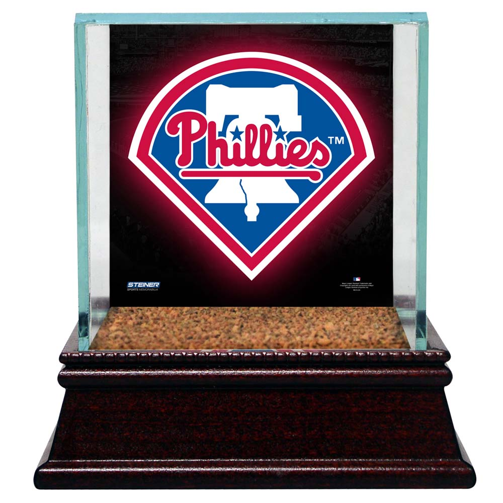 Philadelphia Phillies Glass Single Baseball Case with Team Logo Background and A