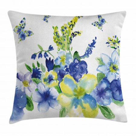 Yellow and Blue Throw Pillow Cushion Cover, Spring Flower Watercolor Flourishing Vibrant Blooms Artsy Design, Decorative Square Accent Pillow Case, 20 X 20 Inches, Lime Green Royal Blue, by Ambesonne