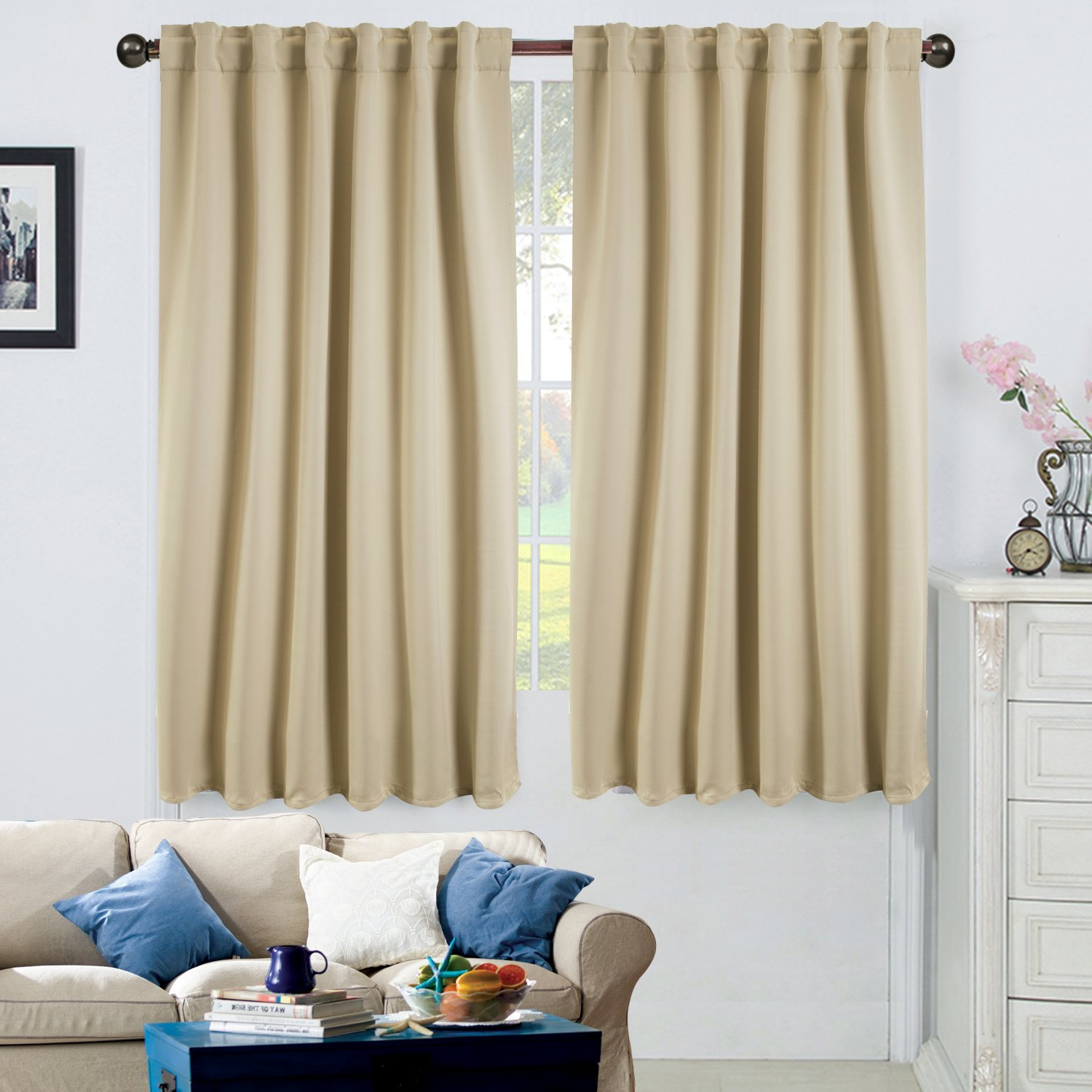"52"" X 63"" Blackout Energy-Efficient Thermal Back Tab & Rod Pocket Window Curtain, 1 Panel"