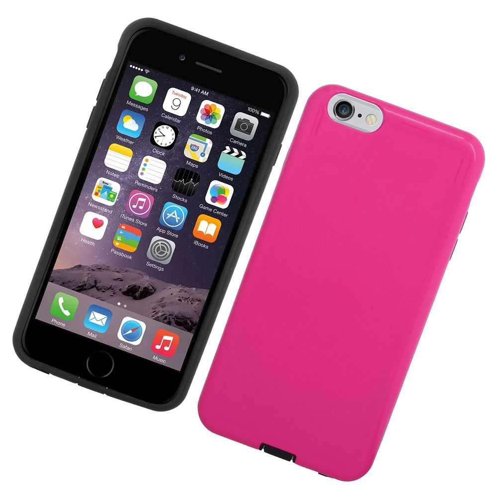 Insten Hard Hybrid Rubberized Silicone Case For Apple iPhone 6/6s - Hot Pink/Black - image 2 de 3